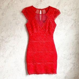 Bebe Red Lace Bodycon Illusion Neckline Dress XXS